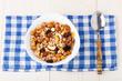Healthy muesli breakfast with nuts and raisin