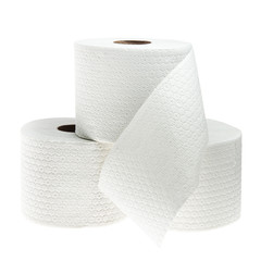 Three rolls of white perforated toilet paper isolated on white