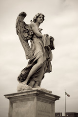 One of the angels at the Sant' Angelo bridge in Rome, Italy