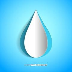 Vector blue paper water drop card design