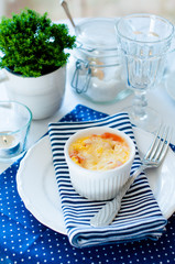 Casserole, baked eggs and cheese
