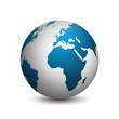 Die Erde in blau isoliert auf weißem Hintergrund