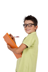child writing in the folder