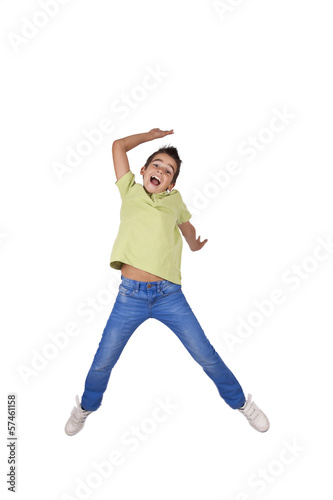 child jumping isolated on white background