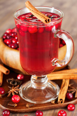 Hot drink with cranberries for Christmas