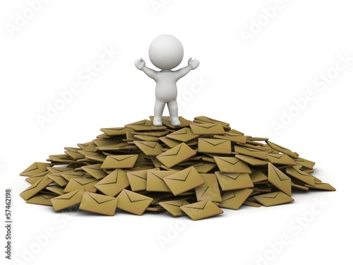 3D Man standing with arms up on top of pile of emails
