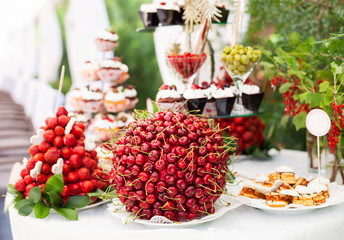 Sweet bar with berries and cakes on a wedding outdoors