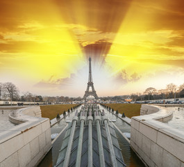 La Tour Eiffel, Paris. Sunset colors over famous Tower, view fro