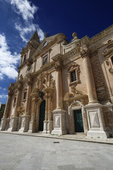 Italy, Sicily, Ragusa, the baroque St. John Cathedral facade