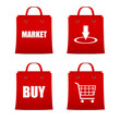 Set of red shopping bags for intrenet