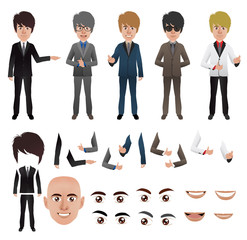 Vector business man with parts of the body template for design w