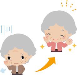 シミ、しわが改善して喜ぶ高齢女性