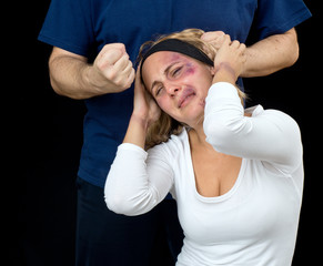 woman with bruises victim of violence