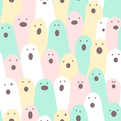 Funny ghosts. Halloween seamless vector background