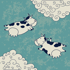 Two cows flying in the sky with clouds. Vector illustration