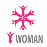 Vector logo spa, yoga and relax. Woman in the flower