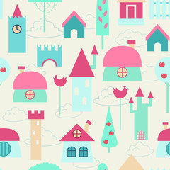 Funny colorful houses. Children seamless background