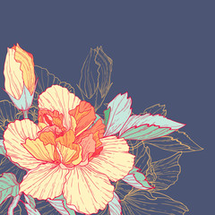 Vector floral background with bright hibiscus flower