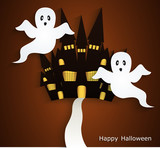 Haunted House. Halloween background, bedding or card.