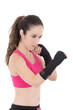 fitness woman wearing boxing gloves.