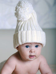 newborn baby  in a hat