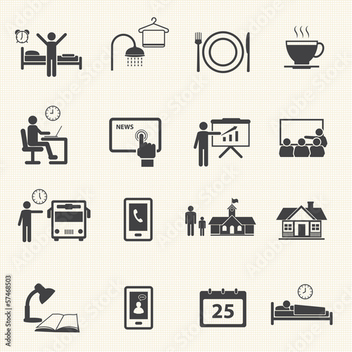 Man Daily Routine Icons