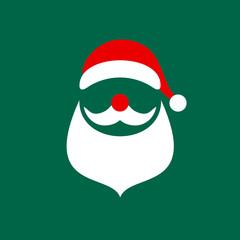 Abstract Christmas Card Santa Green