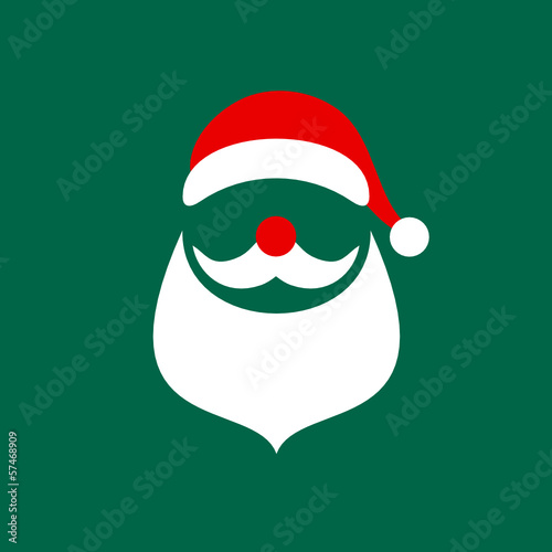 Abstract Christmas Card Santa Green