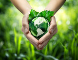Green planet in your heart hands - usa - environment concept - Fine Art prints