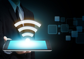 Wifi, Internet technology and networking concept