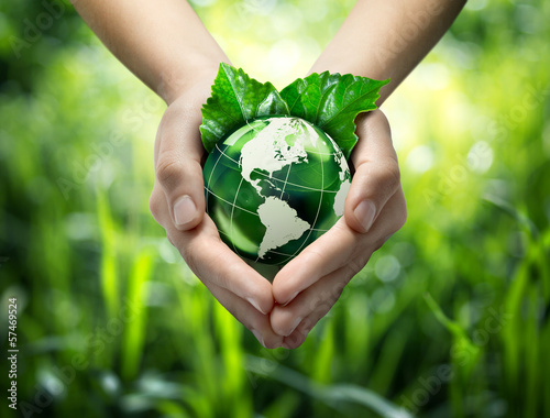 In de dag Planten Green planet in your heart hands - usa - environment concept