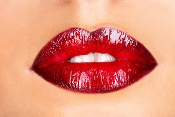Macro photo of a red woman's lips