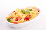 pasta with cheese, tomato and basil