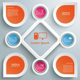 4 Circles Big Rhombus Startup Colored Infographic poster