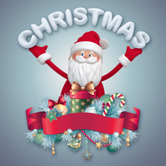 3d Santa Claus with Christmas greeting text