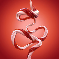 3d abstract Christmas candy cane caramel lines