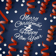 Christmas Party card? with streamers and confetti, vector Eps10.