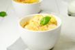 Potato gratin in the white bowls