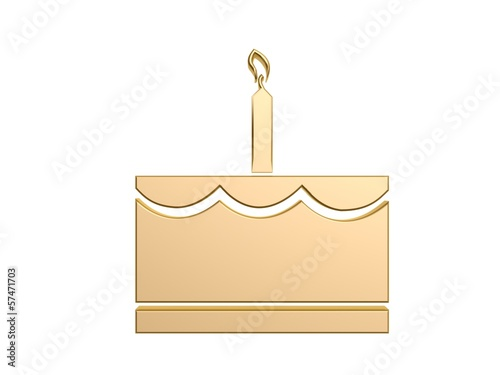 golden cake with candle