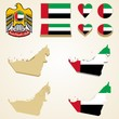 United Arab Emirates Map, Vector 3D pack of UAE and flag