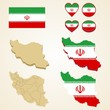 Iran Map, Vector 3D pack of Iran and flag