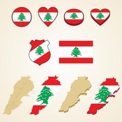Lebanon Map, Vector 3D pack of Lebanon and flag
