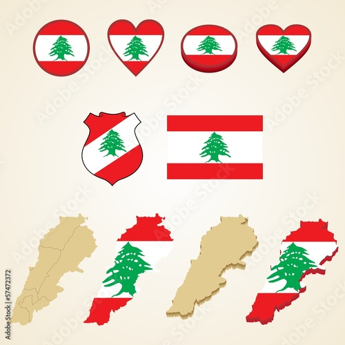 Lebanon Map, Vector 3D pack of Lebanon and flag