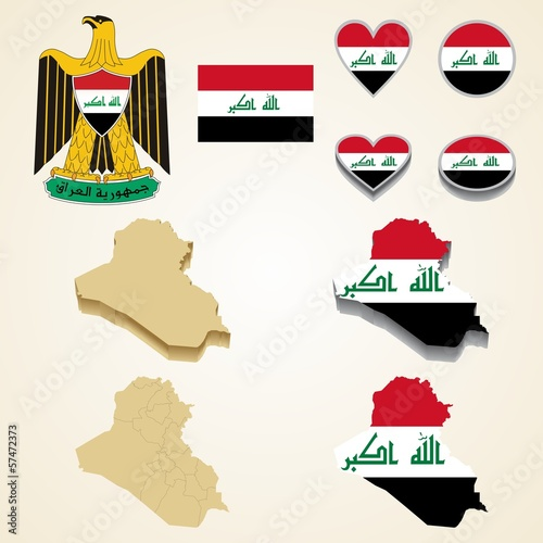 Iraq Map, Vector 3D pack of Iraq and flag