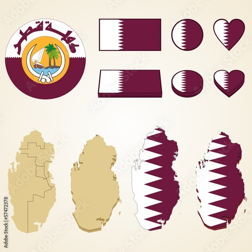 Qatar Map, Vector 3D pack of Qatar and flag