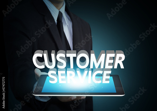 Customer service 3D text on touch screen tablet technology