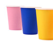 Three pink blue and yellow paper cups
