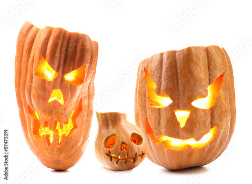 Halloween pumpkin with scary evil faces