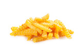 Pile of crinkle cut fried potato chips poster