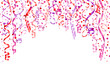 Party Background Streamers & Confetti Pink Mix A4